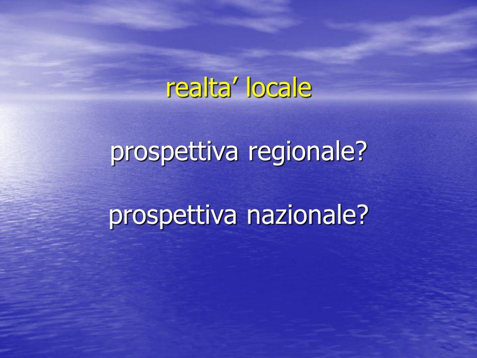 realta' locale prospettiva regionale prospettiva nazionale