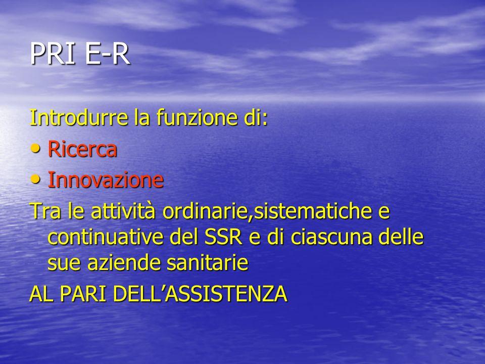 PRI E-R Introdurre la funzione di: Ricerca Innovazione