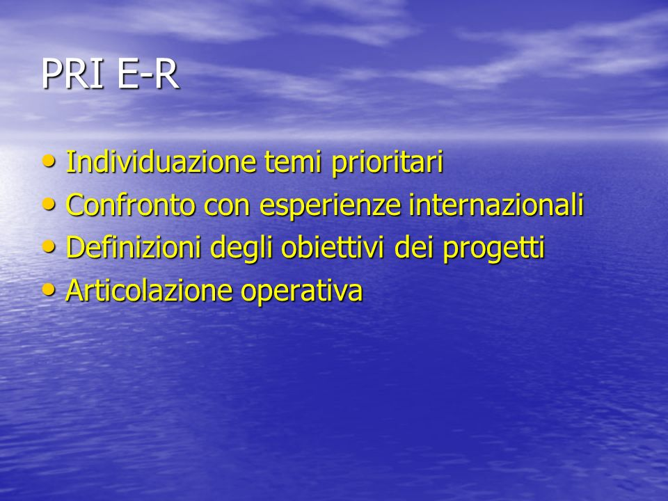 PRI E-R Individuazione temi prioritari