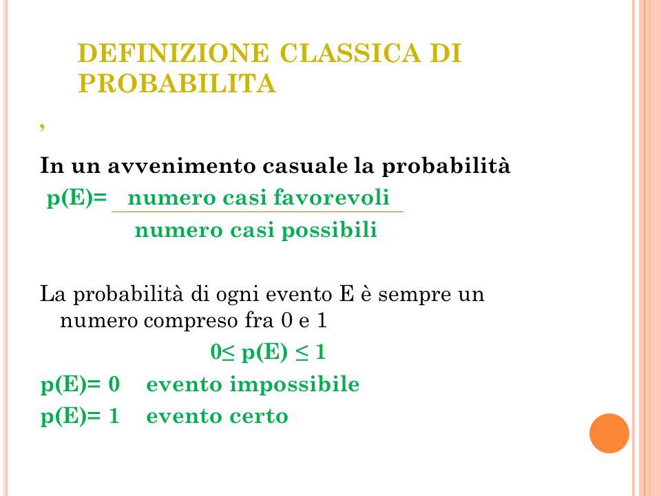 DEFINIZIONE CLASSICA DI PROBABILITA