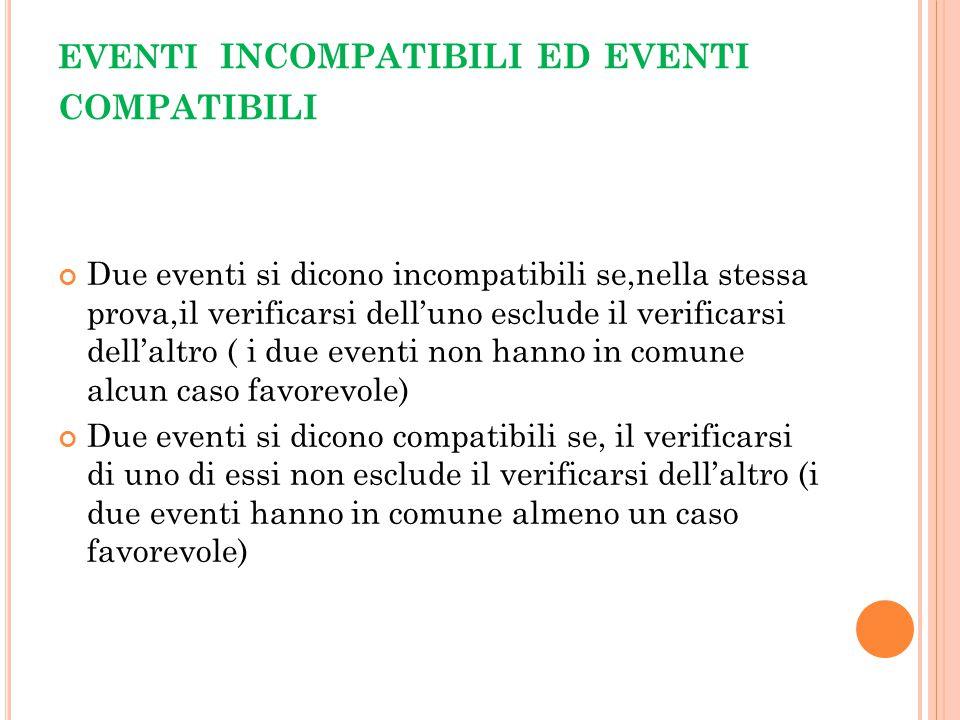 EVENTI incompatibili ed eventi compatibili