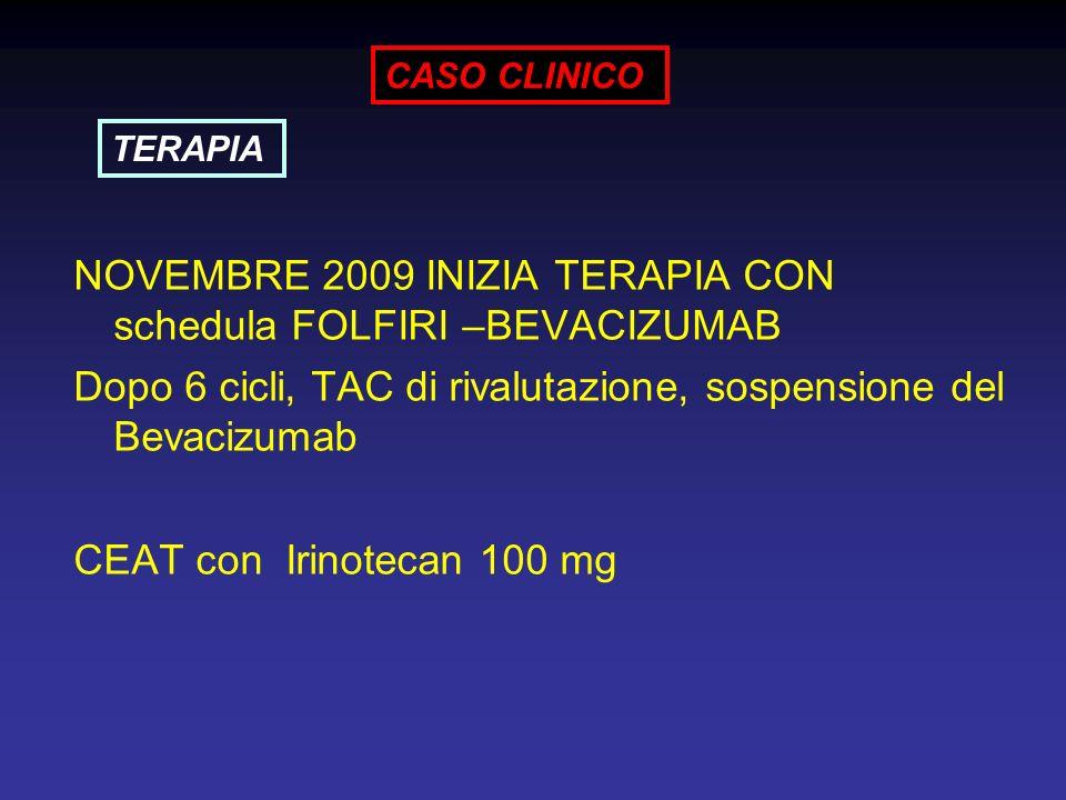 NOVEMBRE 2009 INIZIA TERAPIA CON schedula FOLFIRI –BEVACIZUMAB