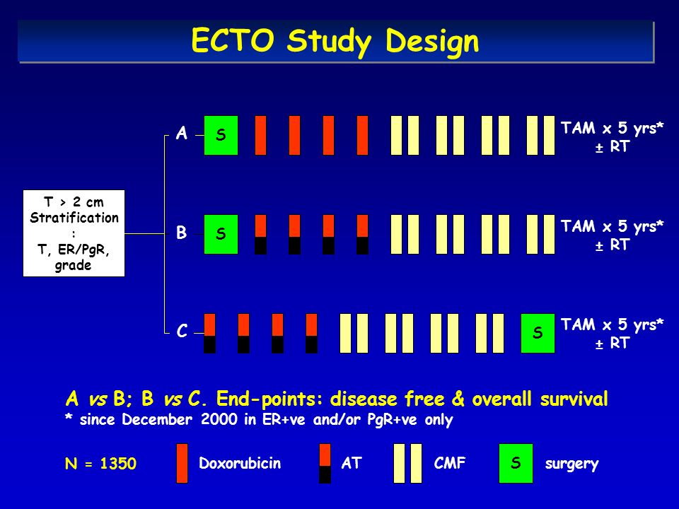 ECTO Study Design A. S. TAM x 5 yrs* ± RT. T > 2 cm. Stratification: T, ER/PgR, grade. S. TAM x 5 yrs*