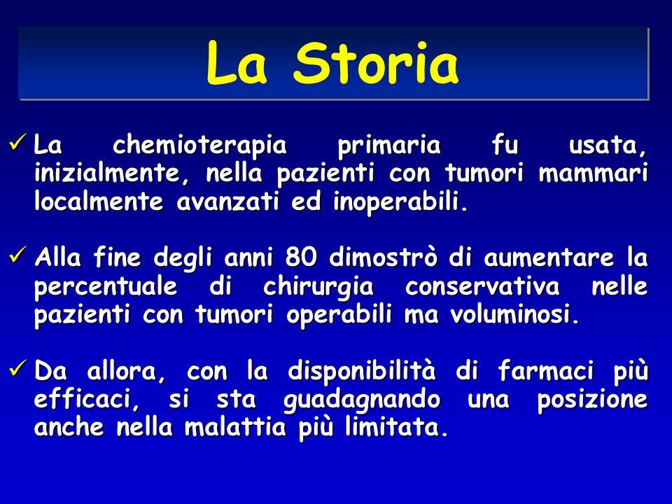 La Storia La chemioterapia primaria fu usata, inizialmente, nella pazienti con tumori mammari localmente avanzati ed inoperabili.