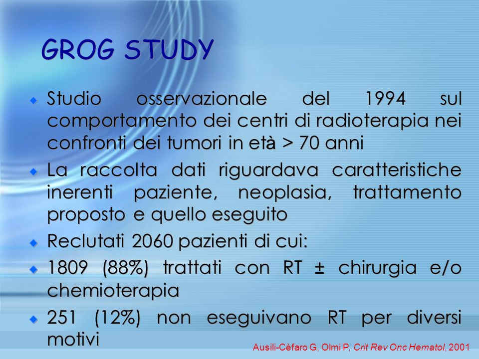 GROG STUDYStudio osservazionale del 1994 sul comportamento dei centri di radioterapia nei confronti dei tumori in età > 70 anni.