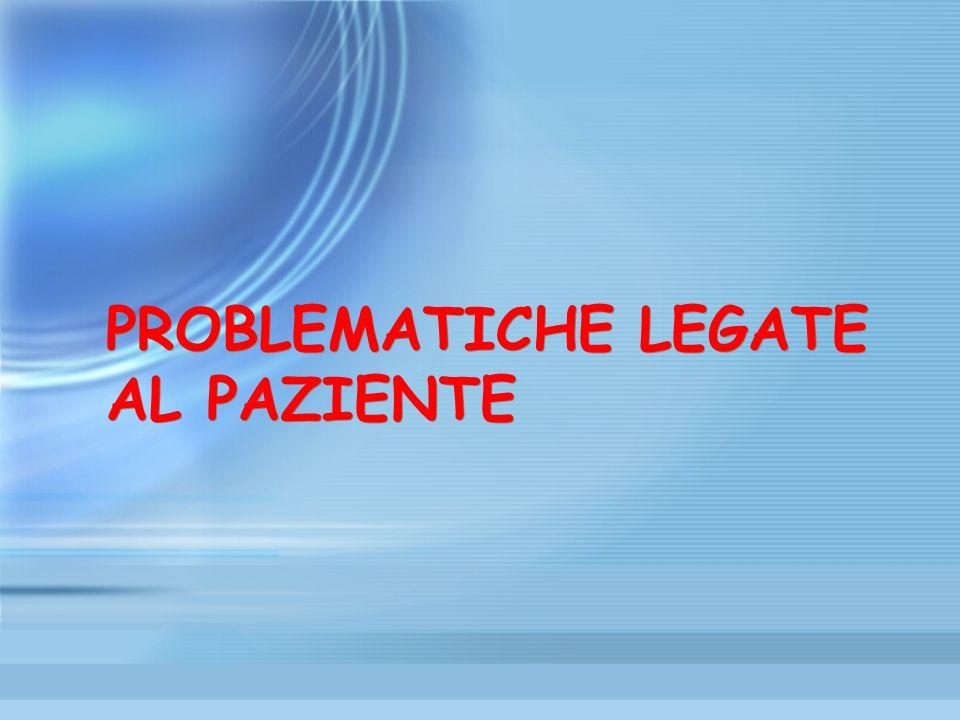 PROBLEMATICHE LEGATE AL PAZIENTE