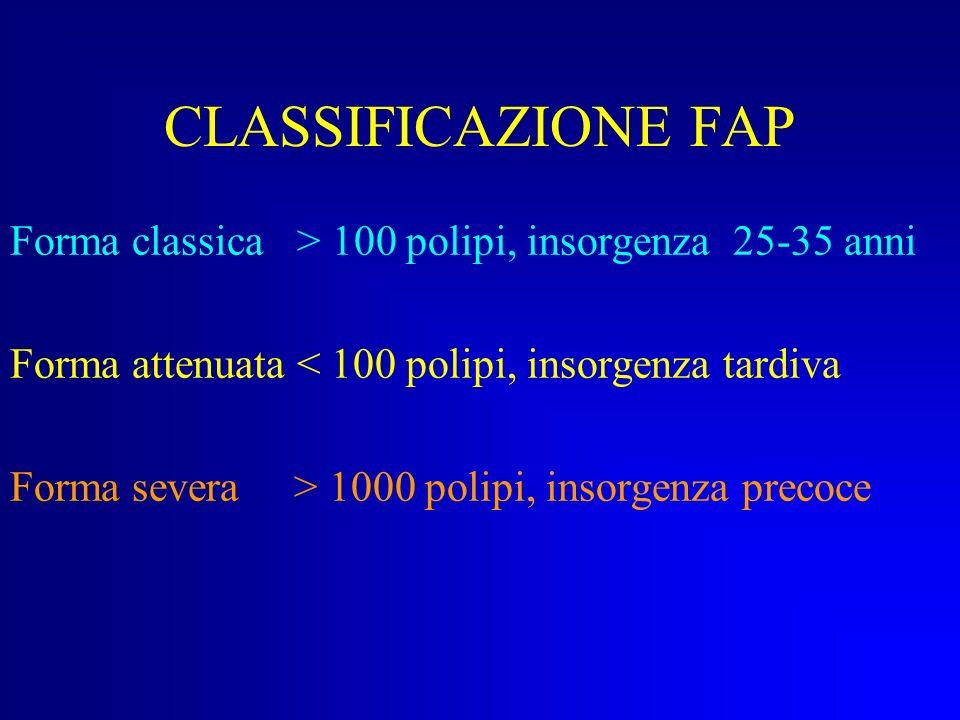 CLASSIFICAZIONE FAP Forma classica > 100 polipi, insorgenza 25-35 anni. Forma attenuata < 100 polipi, insorgenza tardiva.