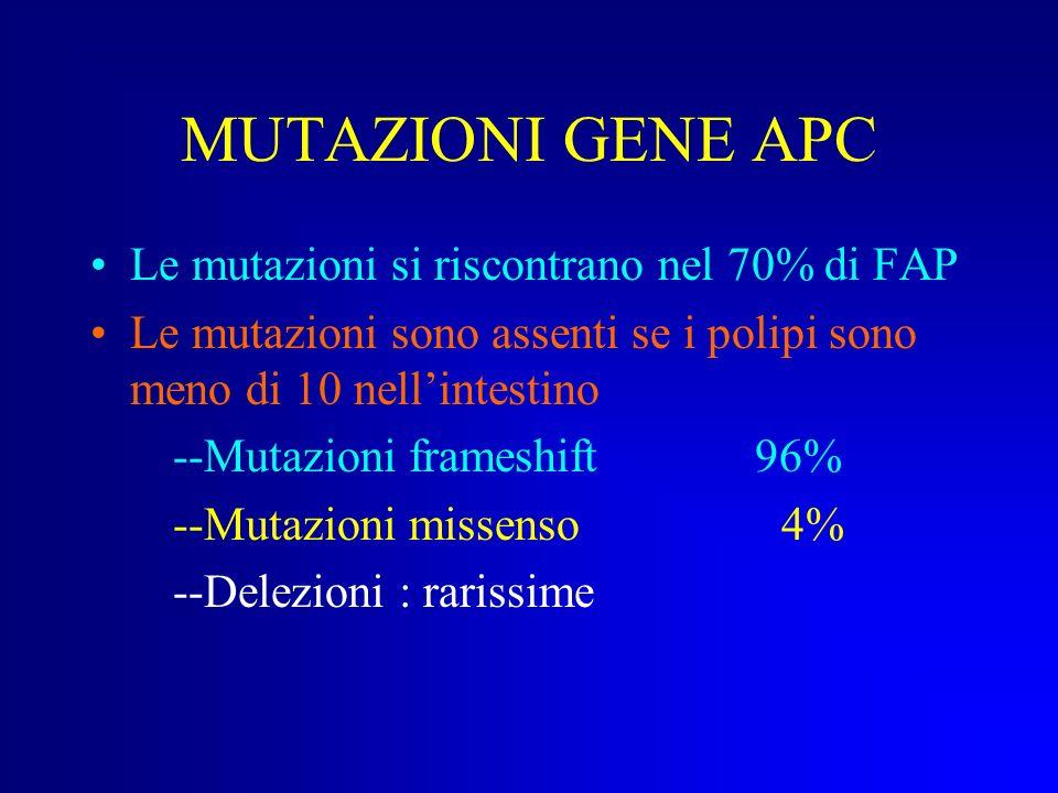 MUTAZIONI GENE APC Le mutazioni si riscontrano nel 70% di FAP
