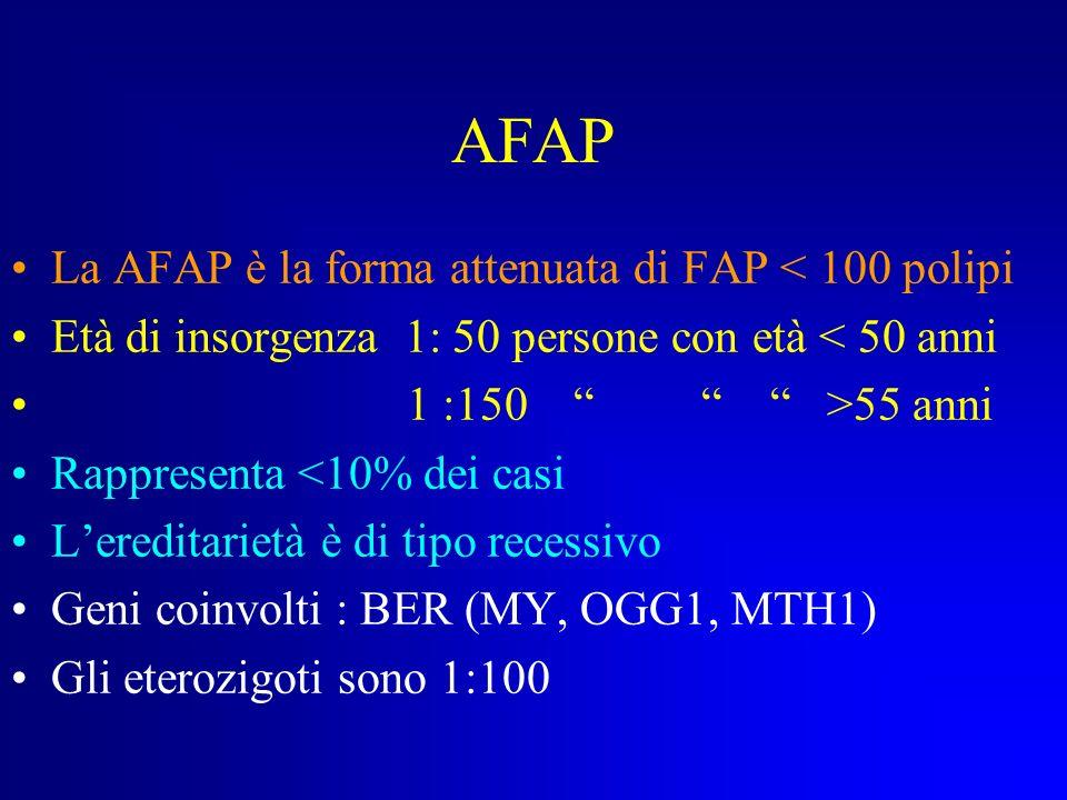 AFAP La AFAP è la forma attenuata di FAP < 100 polipi