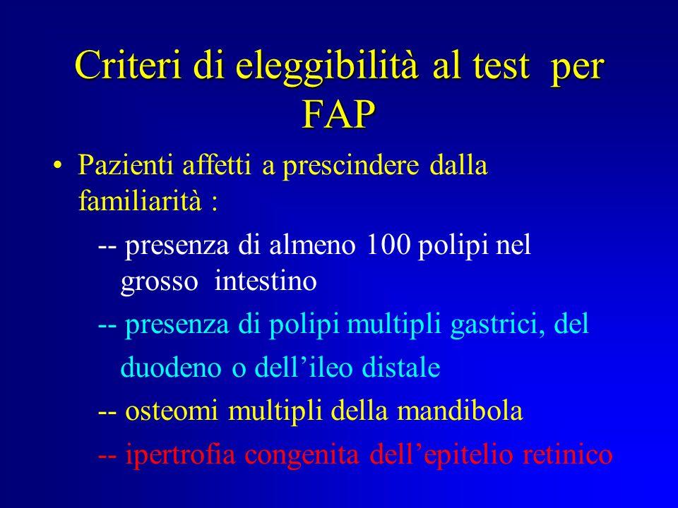 Criteri di eleggibilità al test per FAP