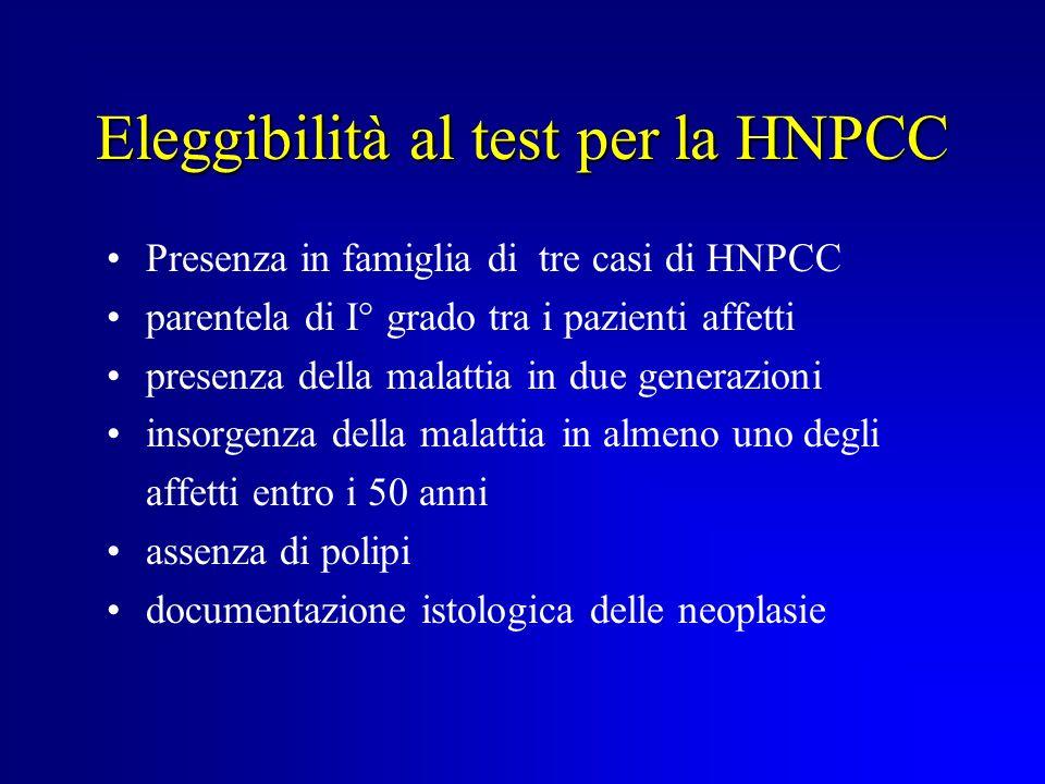 Eleggibilità al test per la HNPCC