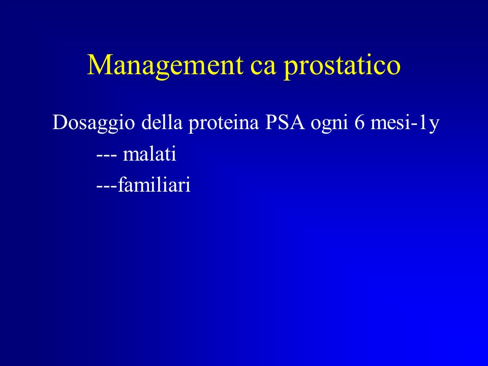 Management ca prostatico