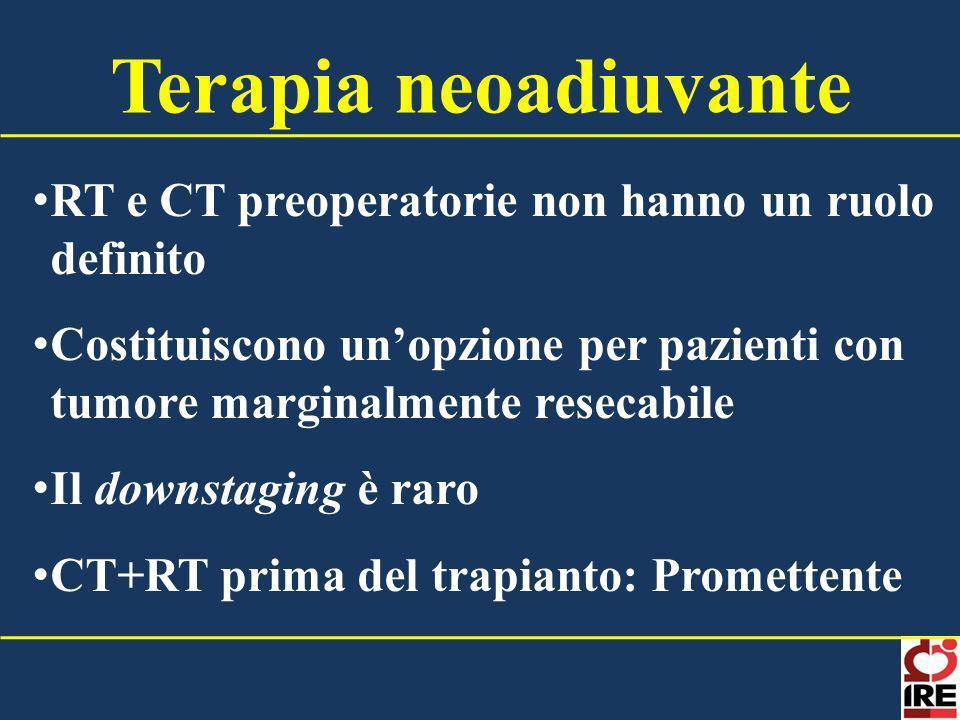 Terapia neoadiuvante RT e CT preoperatorie non hanno un ruolo definito
