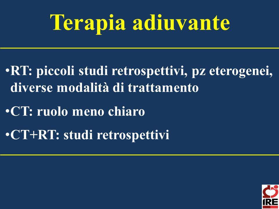 Terapia adiuvante RT: piccoli studi retrospettivi, pz eterogenei, diverse modalità di trattamento. CT: ruolo meno chiaro.