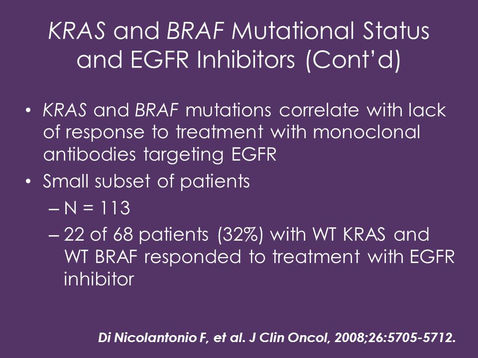 KRAS and BRAF Mutational Status and EGFR Inhibitors (Cont'd)