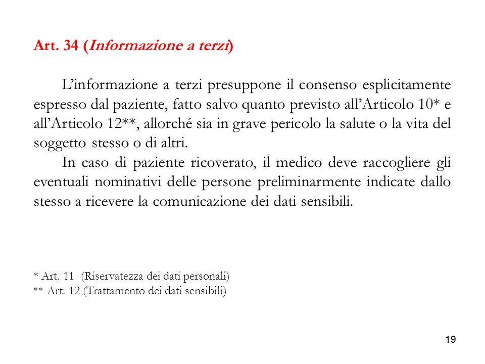 Art. 34 (Informazione a terzi)
