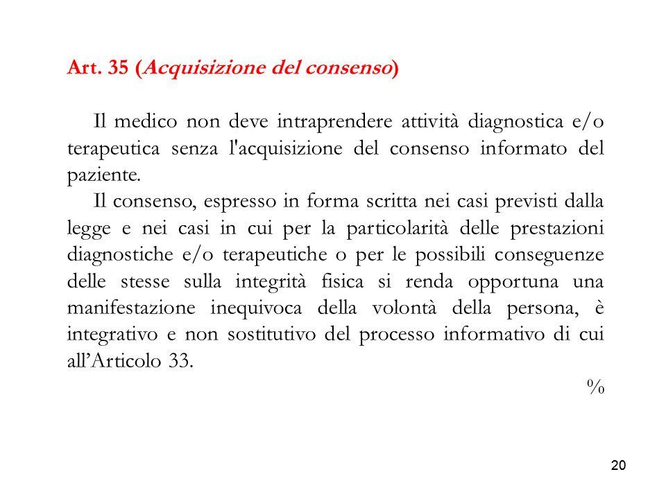 Art. 35 (Acquisizione del consenso)