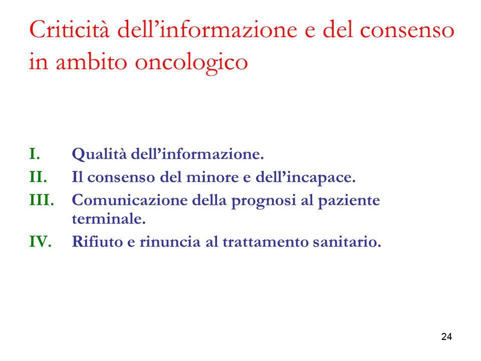 Criticità dell'informazione e del consenso in ambito oncologico