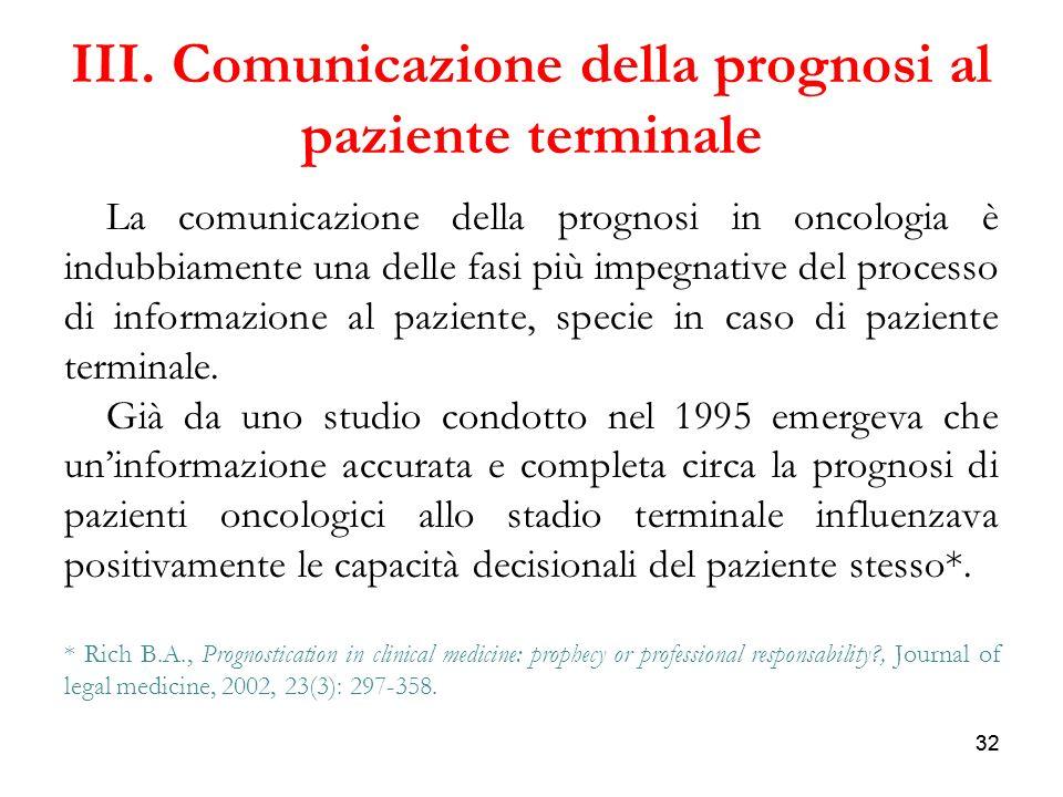 III. Comunicazione della prognosi al paziente terminale