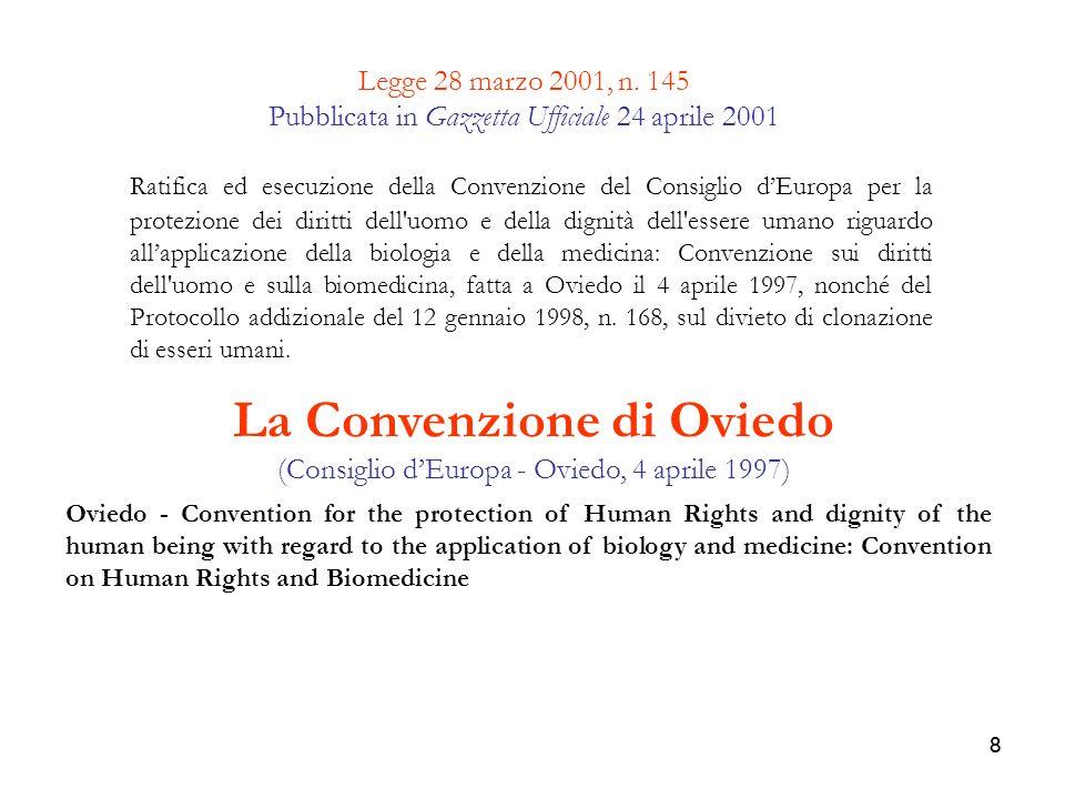 La Convenzione di Oviedo (Consiglio d'Europa - Oviedo, 4 aprile 1997)