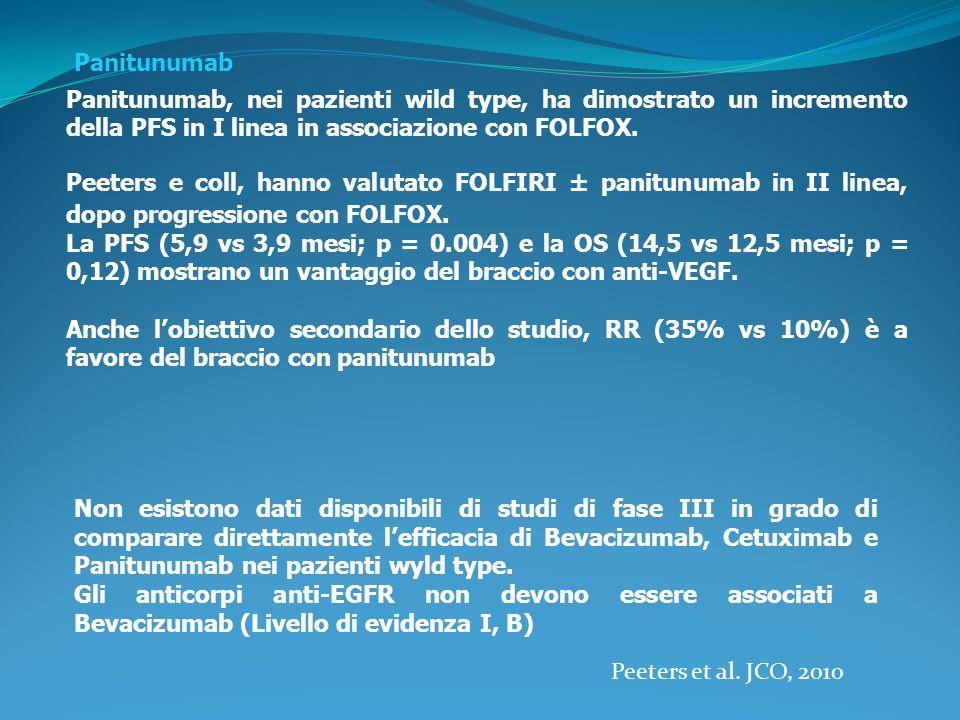 Panitunumab Panitunumab, nei pazienti wild type, ha dimostrato un incremento della PFS in I linea in associazione con FOLFOX.