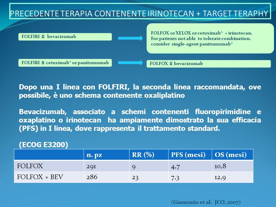 PRECEDENTE TERAPIA CONTENENTE IRINOTECAN + TARGET TERAPHY