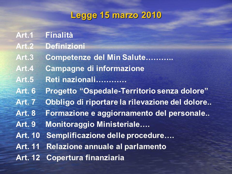 Legge 15 marzo 2010 Art.1 Finalità Art.2 Definizioni