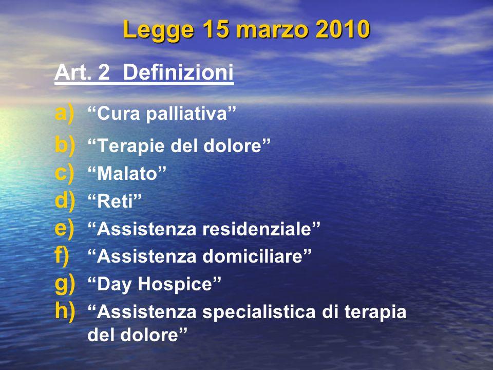 Legge 15 marzo 2010 Art. 2 Definizioni Cura palliativa