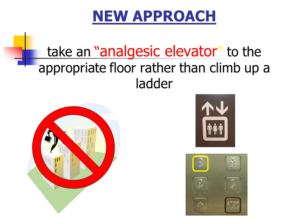 NEW APPROACH take an analgesic elevator to the appropriate floor rather than climb up a ladder