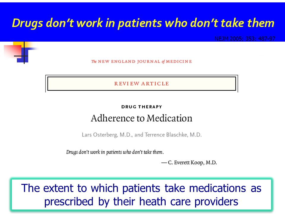 NEJM 2005; 353: 487-97 The extent to which patients take medications as prescribed by their heath care providers.