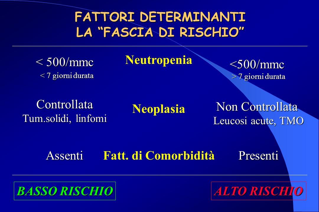 FATTORI DETERMINANTI LA FASCIA DI RISCHIO