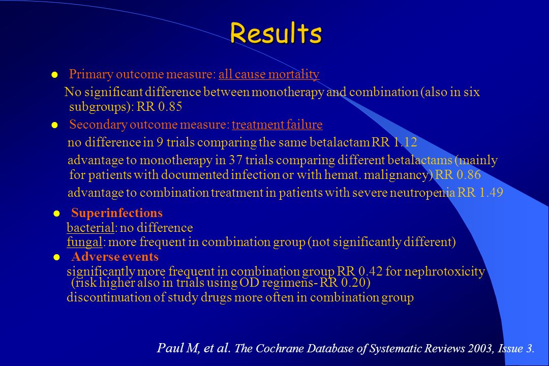 Results Primary outcome measure: all cause mortality