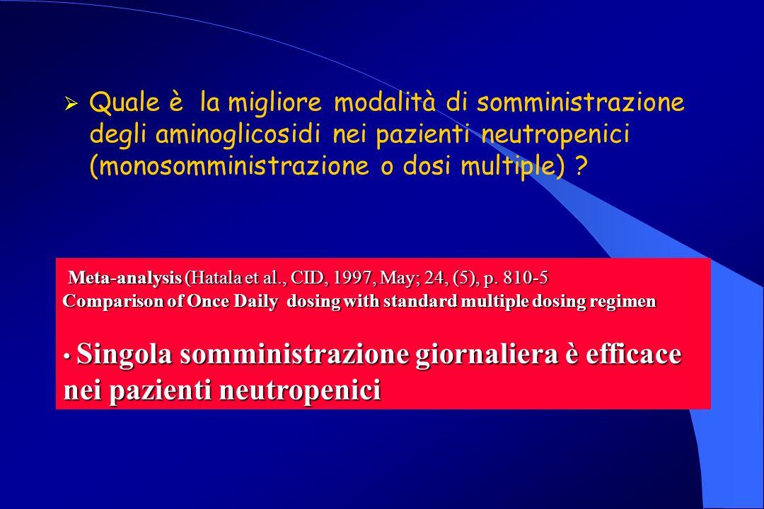 Quale è la migliore modalità di somministrazione degli aminoglicosidi nei pazienti neutropenici (monosomministrazione o dosi multiple)