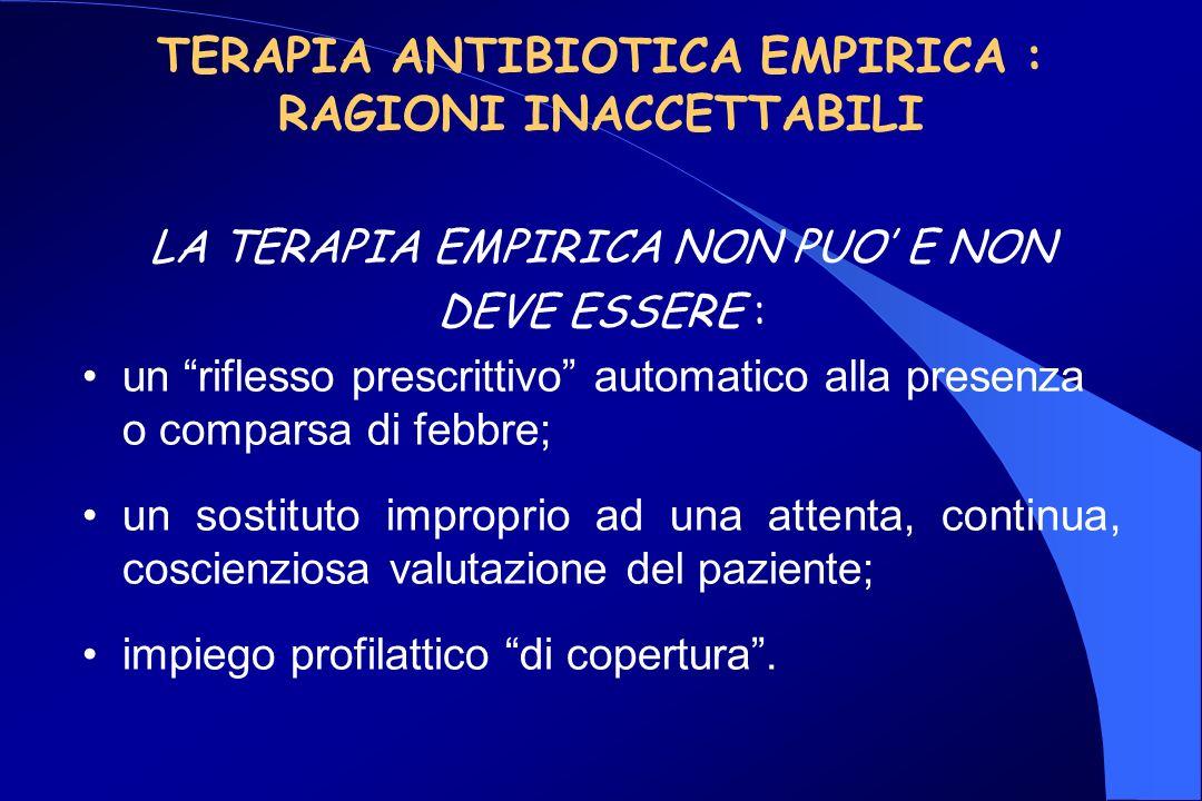 TERAPIA ANTIBIOTICA EMPIRICA : RAGIONI INACCETTABILI