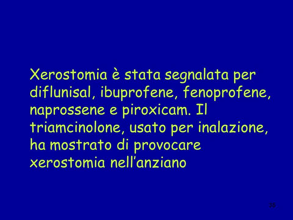 Xerostomia è stata segnalata per diflunisal, ibuprofene, fenoprofene, naprossene e piroxicam. Il triamcinolone, usato per inalazione, ha mostrato di provocare xerostomia nell'anziano