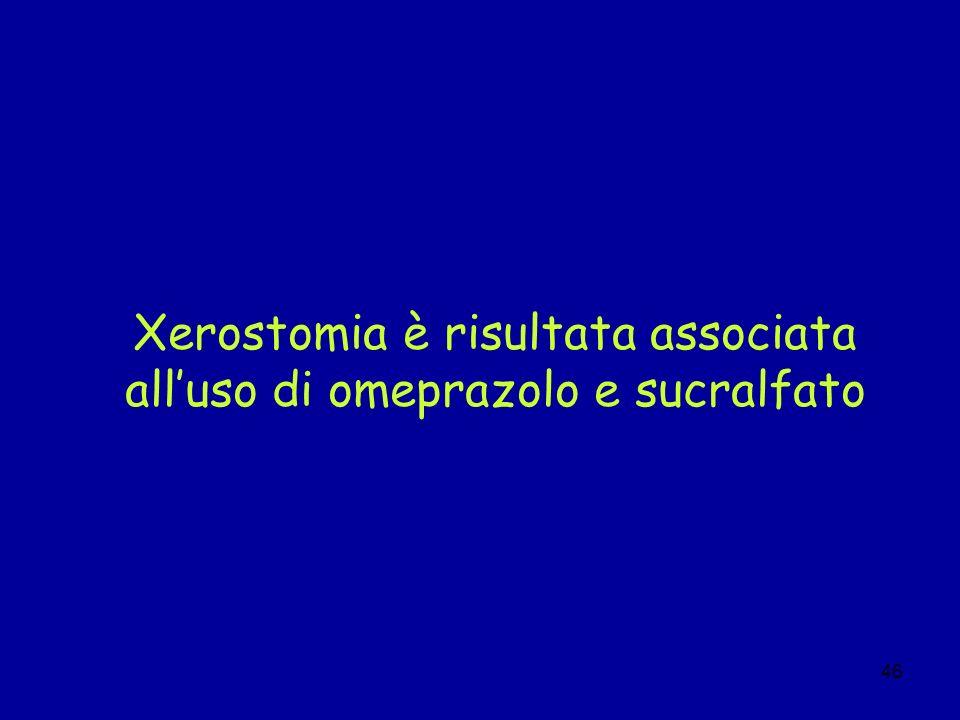 Xerostomia è risultata associata all'uso di omeprazolo e sucralfato