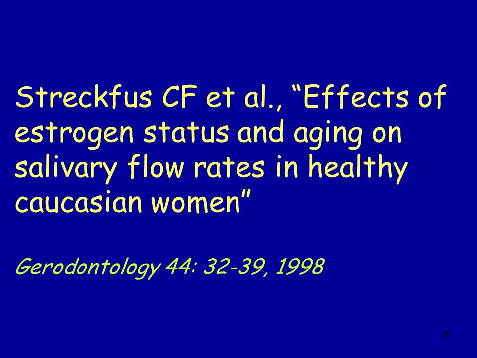Streckfus CF et al., Effects of estrogen status and aging on salivary flow rates in healthy caucasian women
