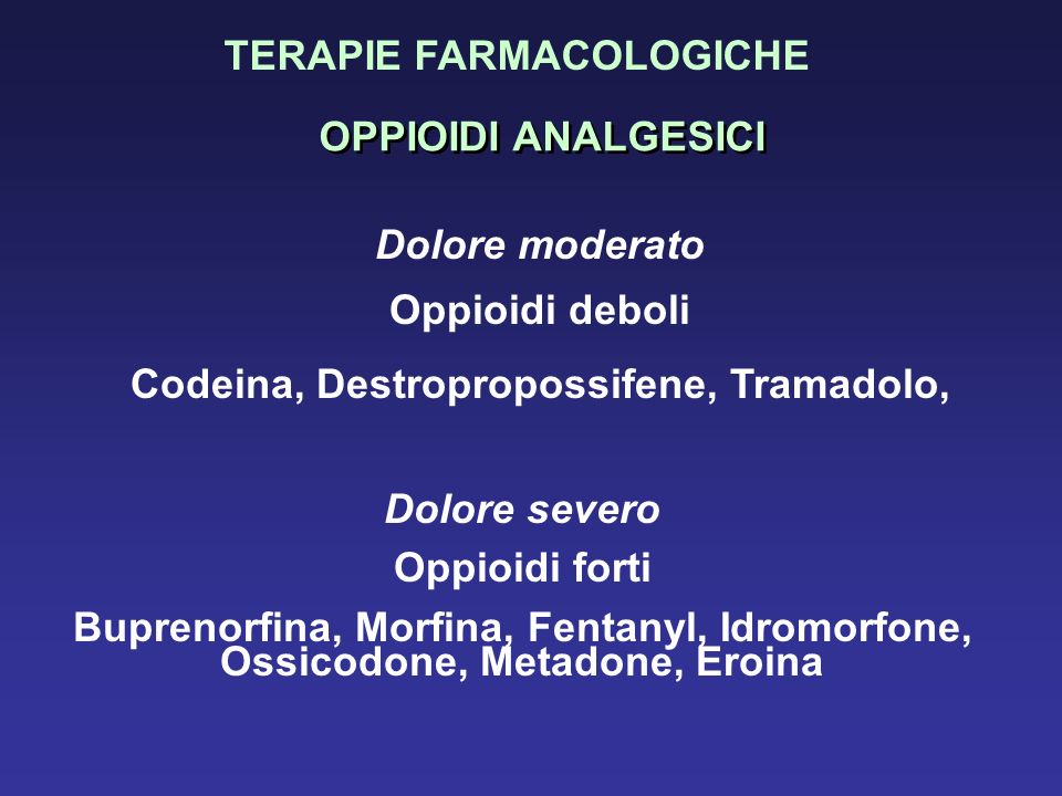 Codeina, Destropropossifene, Tramadolo,