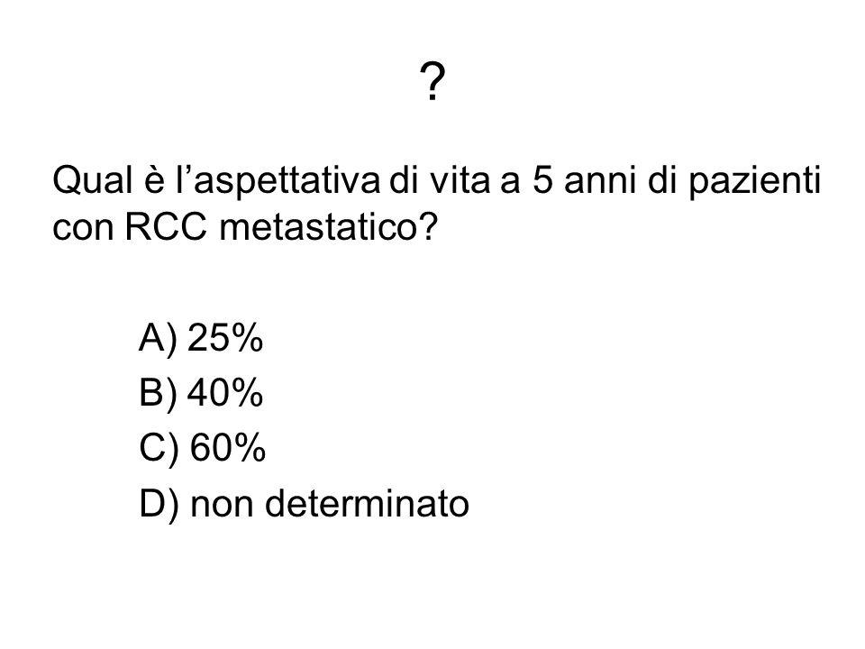 Qual è l'aspettativa di vita a 5 anni di pazienti con RCC metastatico.