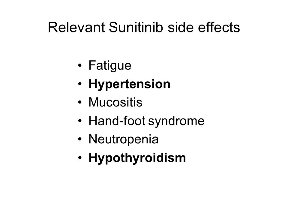 Relevant Sunitinib side effects