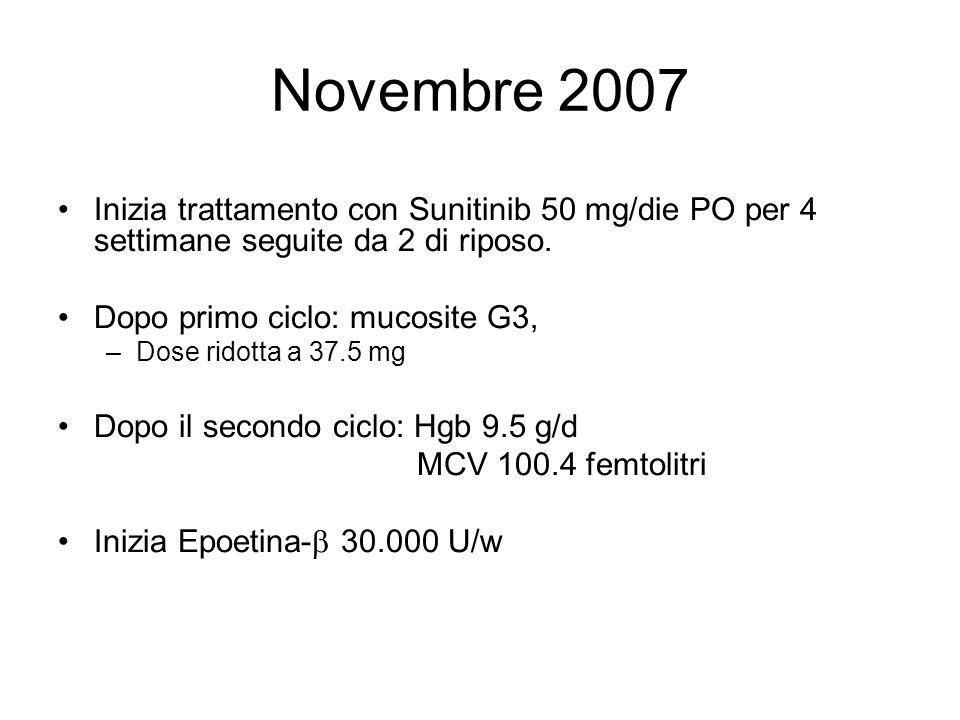 Novembre 2007 Inizia trattamento con Sunitinib 50 mg/die PO per 4 settimane seguite da 2 di riposo.