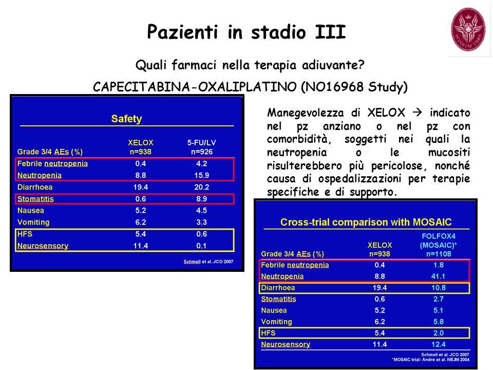 Pazienti in stadio III Quali farmaci nella terapia adiuvante