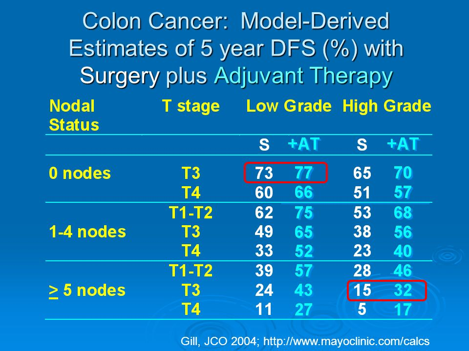 Colon Cancer: Model-Derived Estimates of 5 year DFS (%) with Surgery plus Adjuvant Therapy