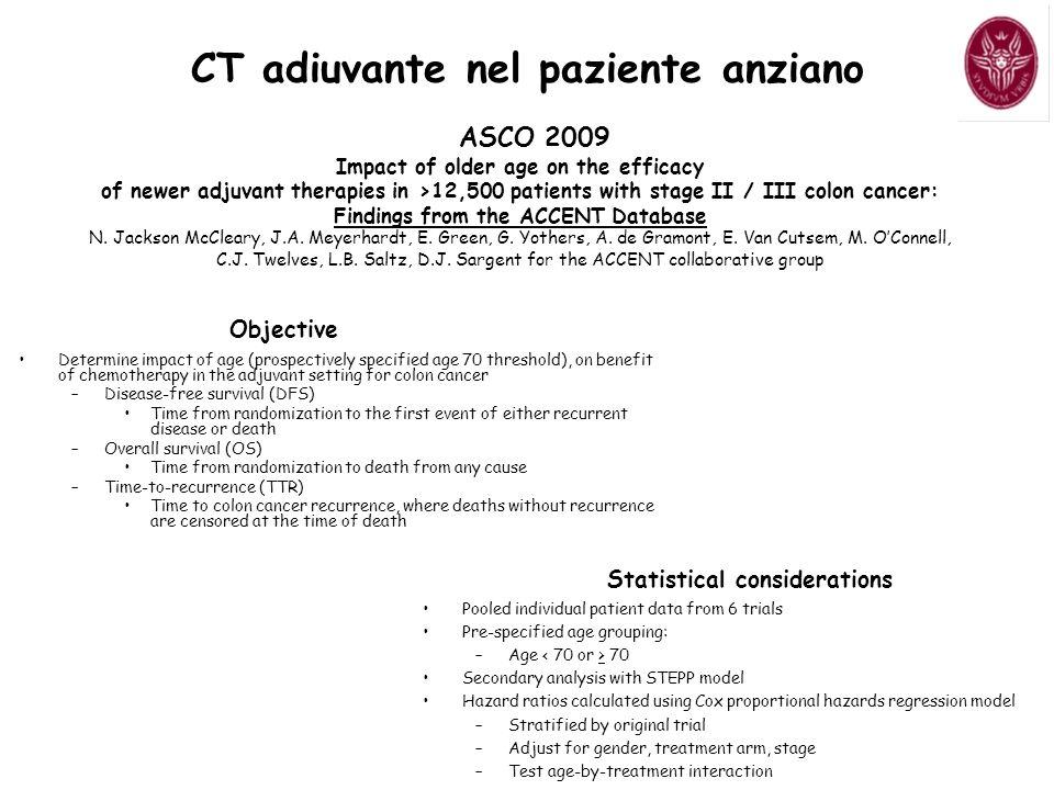 CT adiuvante nel paziente anziano Statistical considerations