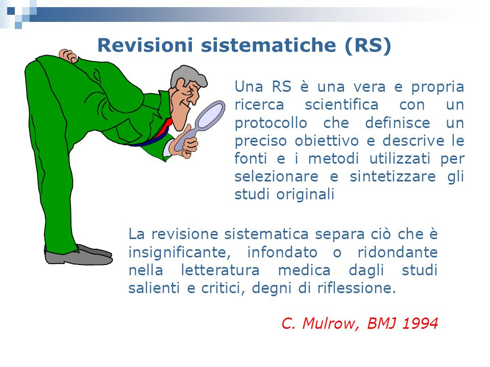Revisioni sistematiche (RS)