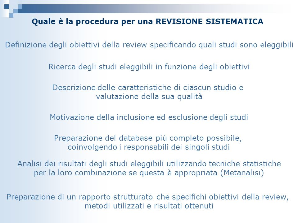 Quale è la procedura per una REVISIONE SISTEMATICA