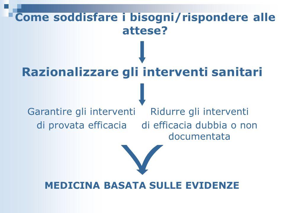 Razionalizzare gli interventi sanitari