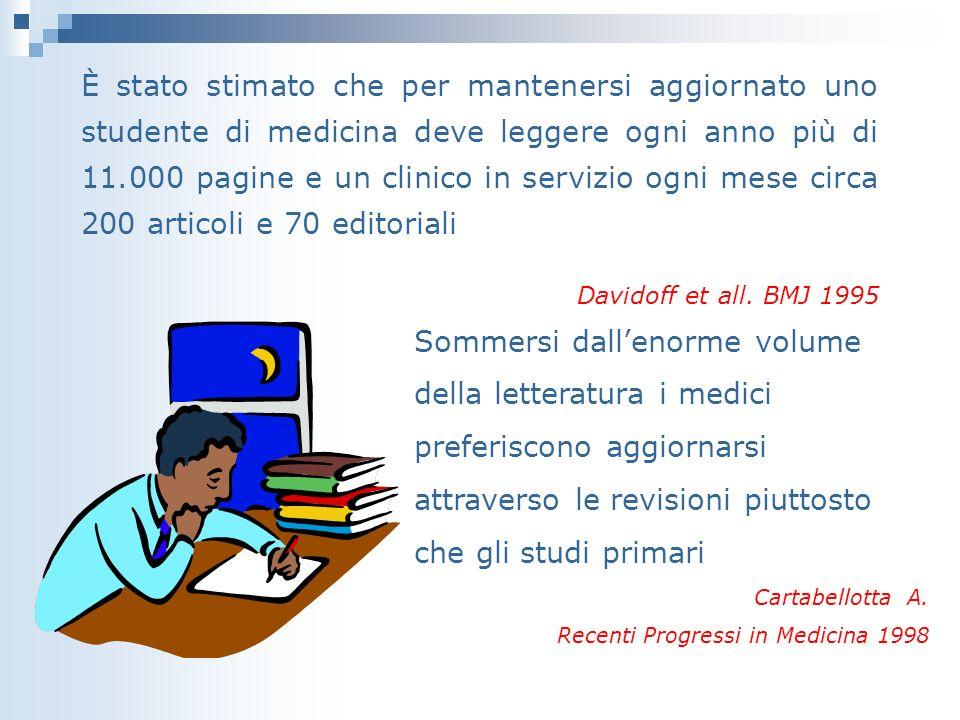 È stato stimato che per mantenersi aggiornato uno studente di medicina deve leggere ogni anno più di 11.000 pagine e un clinico in servizio ogni mese circa 200 articoli e 70 editoriali