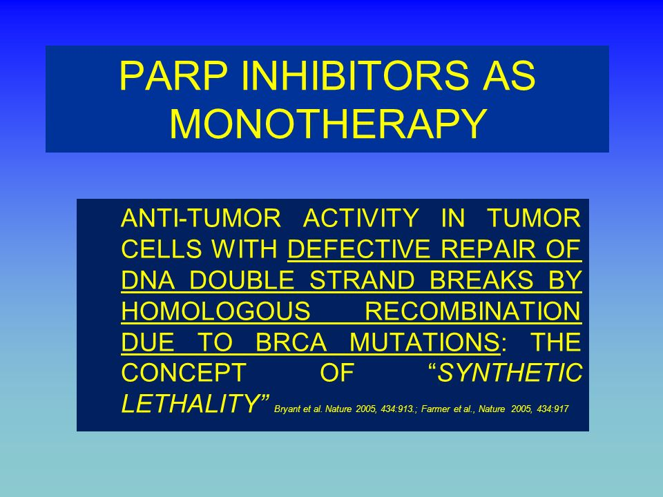 PARP INHIBITORS AS MONOTHERAPY