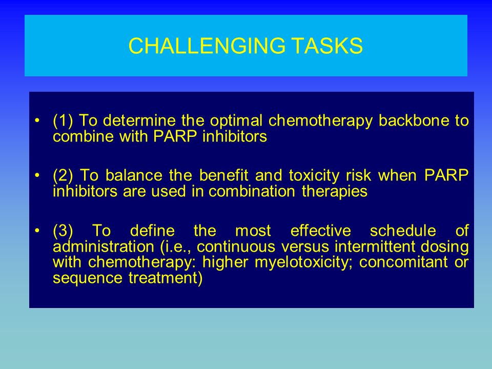 CHALLENGING TASKS (1) To determine the optimal chemotherapy backbone to combine with PARP inhibitors.
